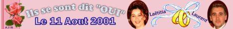 """Laurent et Laetitia se sont dit """"oui"""" le 11 aout 2001"""